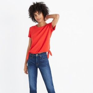 Madewell Texture & Thread Red Modern Side-Tie Top
